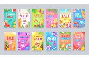 Best Summer Sale Posters Set Vector Illustration