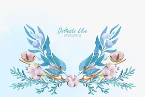 Delicate blue watercolor set.
