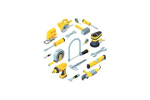 Vector construction tools isometric icons in circle shape illustration
