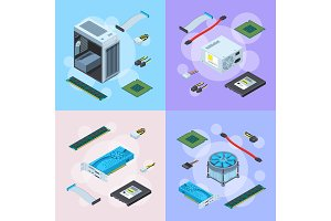Vector isometric electronic devices concept illustration