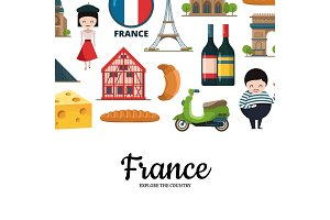 Vector cartoon France sights and objects