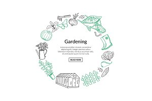 Vector gardening doodle icons in circle form