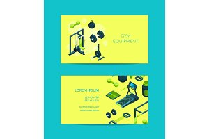 Vector isometric gym objects for gym illustration