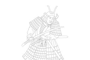 Samurai Japanese warrior graphic