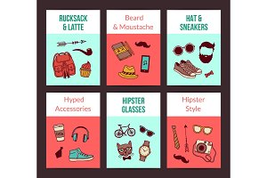 Vector hipster doodle icons card templates set illustration