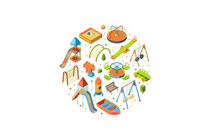 Vector isometric playground objects illustration