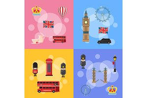 Vector cartoon London sights and objects concept illustration