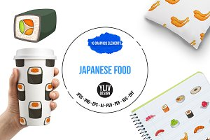 Japanese food icons set, cartoon
