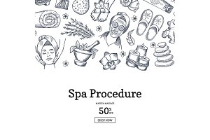 Vector hand drawn spa elements background