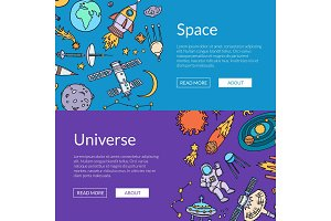 Vector hand drawn space elements horizontal web banners illustration