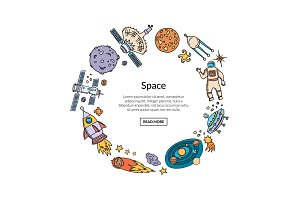 Vector hand drawn space elements in circle form