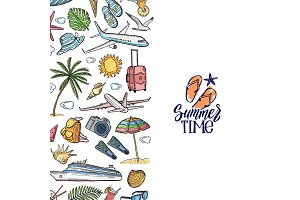 Vector hand drawn summer travel elements background illustration