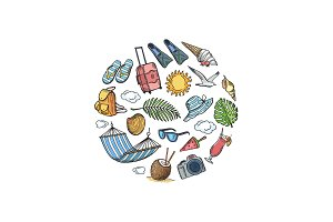 Vector hand drawn summer travel elements in circle shape illustration