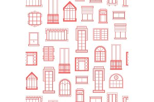 Vector window flat icons monochrome background pattern illustration