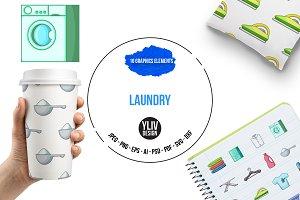 Laundry icons set, cartoon style