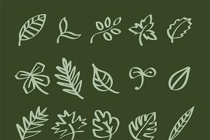 leaf doodles illustration icons