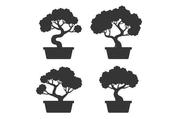 Bonsai Tree Icon Set Pre Designed Photoshop Graphics Creative Market