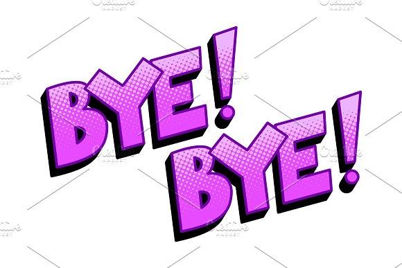 Bye word comic book pop art vector illustration