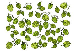 Hops background cartoon vector illustration