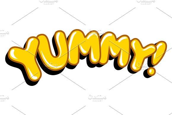 Yummy word comic book pop art vector illustration