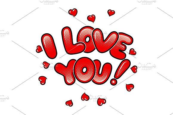 I love you words comic book pop art vector