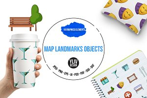 Map landmarks objects icons set