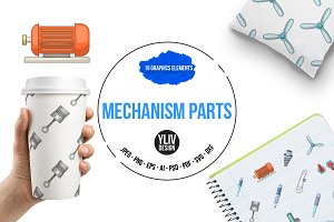 Mechanism parts icons set, cartoon