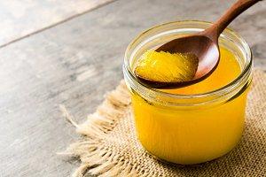 Ghee or clarified butter in jar