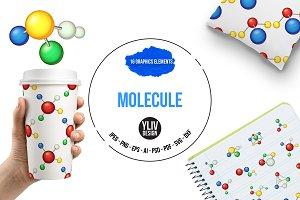 Molecule icons set, cartoon style