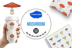 Mushroom icons set, cartoon style