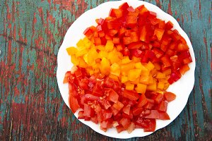 Set of chopped fresh vegetables