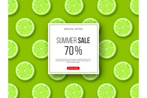 Summer sale banner with sliced lime pieces and dotted pattern. Green background - template for seasonal discounts, vector illustration.