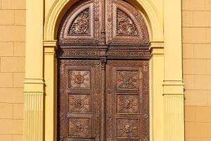 Aged wooden street door