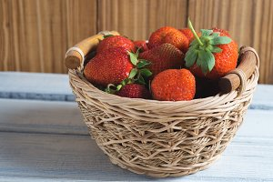 Basket of fresh juicy strawberries
