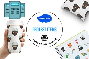 Protest items icons set, cartoon