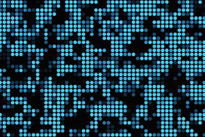 Blue hexagon mosaic tile texture pattern on black background in technology concept. 3d illustration.