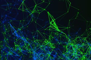 Digital data points and green network connection lines on black background for technology concept, 3d abstract illustration