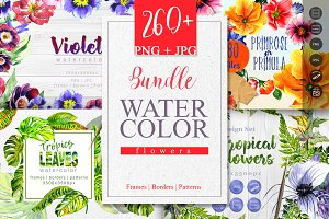 Bundle watercolor flowers 4 products
