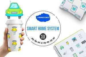 Smart home system icons set, cartoon