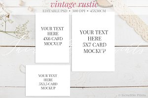 Rustic Greeting Cards Mockup