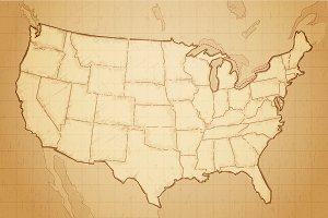Vintage Map of USA