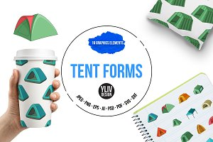 Tent forms icons set, cartoon style