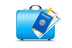Suitcase for travel with passport