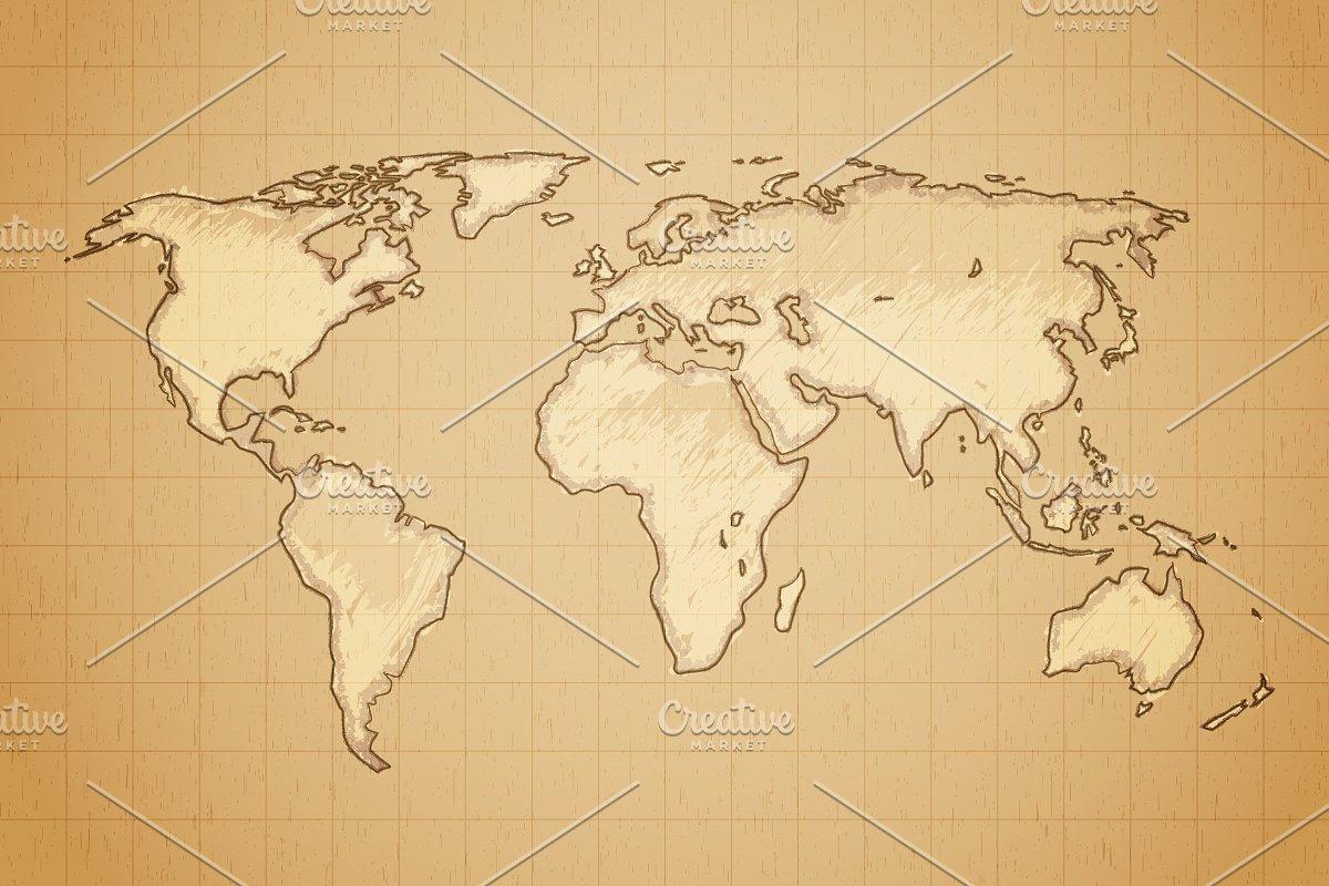 Vintage World Map Custom Designed Illustrations Creative Market