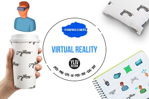 Virtual reality icons set, cartoon
