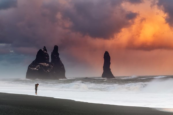 Nature Stock Photos: PhotoNature - Huge clouds over black sand beach