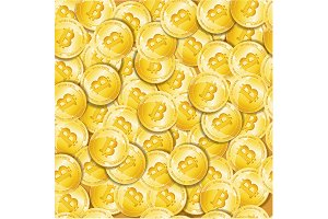 Golden Bitcoin Seamless Pattern