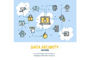 Data Security Concept Banner Card.