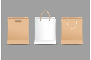 Realistic Detailed 3d Paper Bag Set.