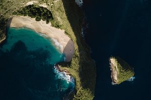 coast of tropical island and ocean